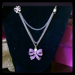 Betsey Johnson Pink Crystal Bow & Pearl Necklace